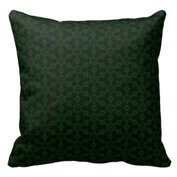 Forest Green Abstract Floral Pattern Throw Pillow