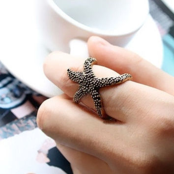 Retro Punk Style Starfish Shape Opened-Ring Finger Ring For Women = 1843121988