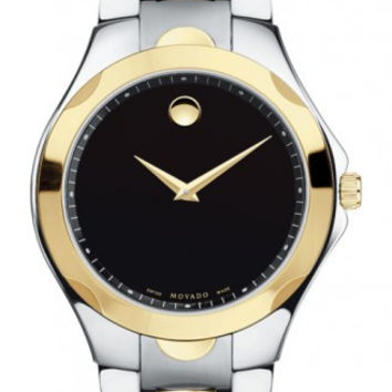 Movado Luno Sport Men's Two Tone Black Museum Dial Watch 0606381