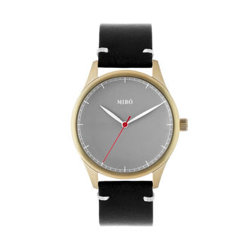 Miró Watches — Grey Face Black Strap — Gold