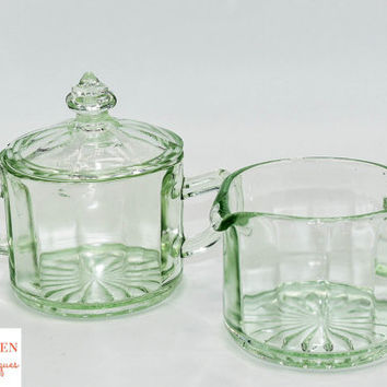 Vintage Green Glass Sugar and Creamer Set