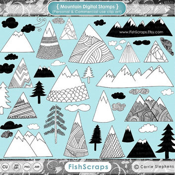Mountain Clip Art -  Hand Drawn Digital Stamps - Pine Trees - Doodled Clouds - Camping ClipArt PNG & Photoshop Brushes