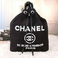 CHANEL Women Fashion College Canvas Satchel Bookbag Backpack  G-MYJSY-BB