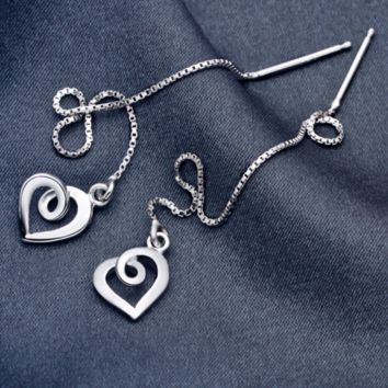 Sweet love heart 925 sterling silver ear wire,a perfect gift