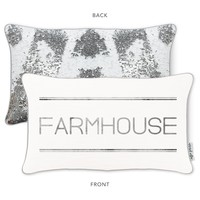 FARMHOUSE Mermaid Pillow with Rice White & Silver Sequins