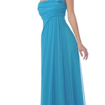 CLEARANCE - One Shoulder Flowy Chiffon Turquoise Dress Long (Size XL)