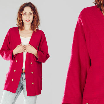 70s Burgundy Knit Oversize Military Jacket / Wine Double Breasted Long Sweater Jacket / Deep Red Casual Pocket Jacket
