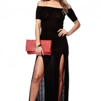 Black Off Shoulder Slit Maxi Dress @ Cicihot sexy dresses,sexy dress,prom dress,summer dress,spring dress,prom gowns,teens dresses,sexy party wear,ball dresses