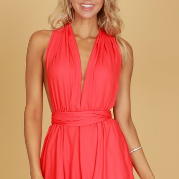 Multiway Wrap Romper Tomato Red
