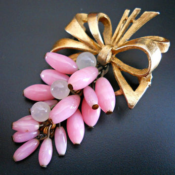 Florenza Brooch Pink Milk Glass Beads Moonstone Bow Vintage Signed