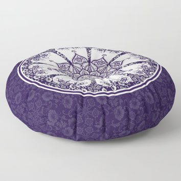 Purple & White Flourish Mandala Design Floor Pillow by inspiredimages