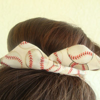 "Wire Bun Wrap, Top Knot Wire Wrap Baseball or Softball ""Mini"" Dolly Bow Wire Headband Ponytail Hair tie Hair Bun Tie Wrap"