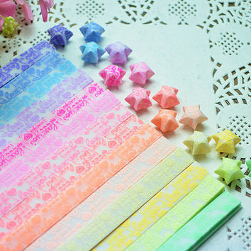 Glow in Dark Folding Origami / Paper Lucky Star Assorted / Favour Strips 2 Colors Mixed /I LOVE YOU Letter 60 Stripes