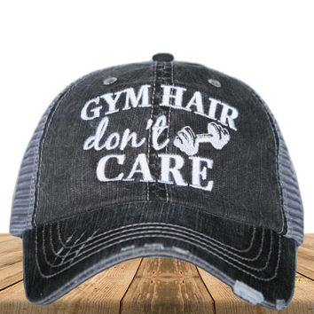 Adult Distressed Trucker Hat Custom Embroidered Gym Hair Don't Care Distressed Trucker Hat Funny Trucker Hat Women's Trucker Cap Baseball