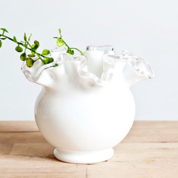 Shop Fenton White Vase On Wanelo