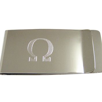 Silver Toned Etched Mathematical Greek Omega Symbol Money Clip