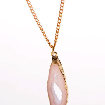 Gold Asymmetric Stone Thin Chain Necklace