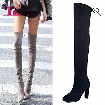Faux Suede Slim Boots Sexy over the knee high women snow boots women's fashion winter thigh high boots shoes woman #Y1159855F