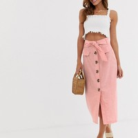 Stradivarius button front midi skirt with bow in pink | ASOS