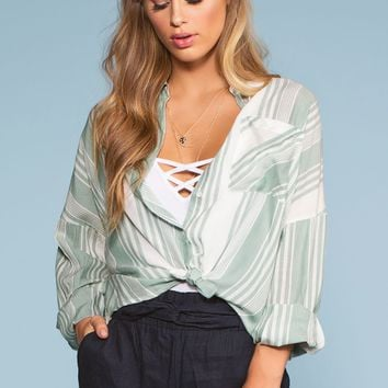 Sandy Shore Stripe Button-Up Shirt - Sage