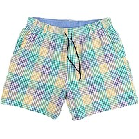 Dockside Swim Trunk in Purple Green and Gold Seersucker Gingham by Southern Marsh