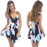 Floral Strappy V-neck Sheath A-Line Mini Skater Dress