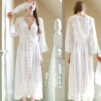 Lace White Wedding Robe Lingerie Dreams Bridal Sleepwear Nightgown Chemise De Nuit Mariage Free Shipping