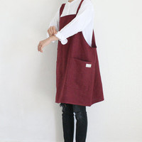Linen Apron Dress,Burgundy/Grey