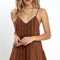 Amuse Society June Brown Print Romper