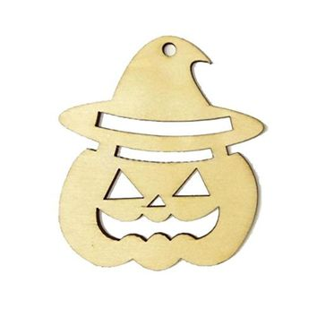10pcs Wooden Tags Pumpkin Face Shape Halloween Hanger DIY Wooden Crafts Party Wood Halloween Decorations With String