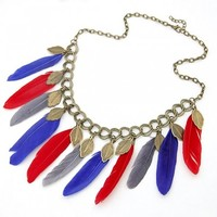 *Free Shipping* Blue Colorful Feather Necklace 1032553 from MaxNina