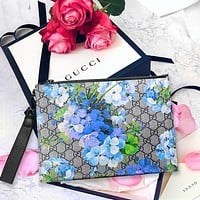Gucci Women Wrist Bag Makeup bag Women Men Wash Bag Blue