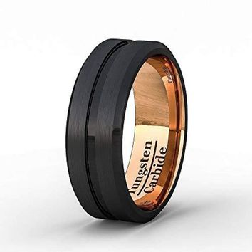 Two Tone Black Rose Gold Tungsten Wedding Band With Grooved Center Comfort Fit - 8mm