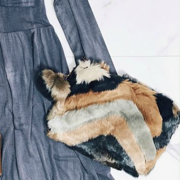 Brown Fuzzy Clutch