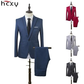 Business and Leisure Suit Men Two-piece Coat Trousers Suit Groom's Wedding Blazer + Long Pants Men's Suits 7 Colors