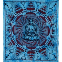 Large Turquoise Blue Tie Dye Buddha Wall Art Hanging Hippie Tapestry on RoyalFurnish.com