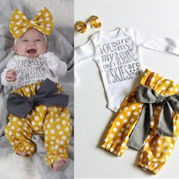 3PC Newborn Baby Girl Kids Tops Romper+Long Pants Headband Outfits Clothes Set