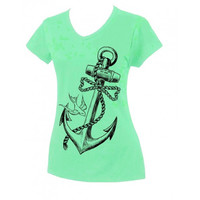 Country Life Outfitters Anchor Bow Mint Fitted V Cut Vintage Girlie Bright T Shirt