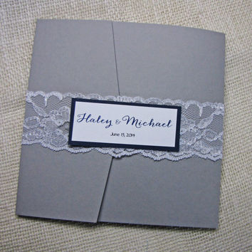 Pocket  Fold Wedding Invitation,Lace Weddding Invitation,Elegant Wedding Invite