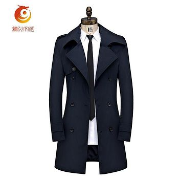 Navy Blue Trench Coat Mens Overcoat Fashion New Long Trench Coat Men Double-breasted Casual Slim Fit Mens Overcoat Plus Size 4XL