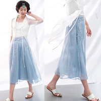 Semi-Sheer Layered Crochet A-Line Swing Skirt