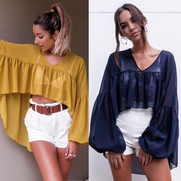 Loose Sexy Ladies Chiffon Long Sleeve V Neck Casual Top
