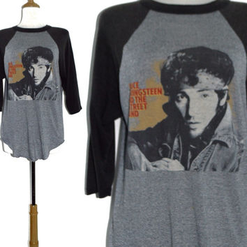 Vintage 80s Bruce Springsteen World Tour '84-'85 Raglan 3/4 Sleeve Jersey 50/50 T Shirt