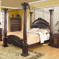 King size 4 Poster Canopy Bed with Large Decorative Posts