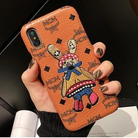 MCM Stylish Couple Embroidery Rabbit iPhone X XS XS MAX XR Phone Cover Case For iphone 6 6s 6plus 6s-plus 7 7plus 8 8plus