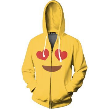 Emoji Heart Eyes Zip Up Hoodie