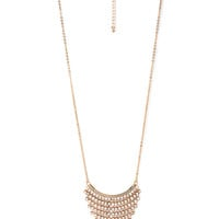 FOREVER 21 Tiered Rhinestone Pendant Necklace Gold/Clear One