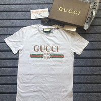 """Hot Sale """"Gucci"""" Summer Fashion Women Men Casual Letters Print Short Sleeve T-Shirt Pullover Top White I"""