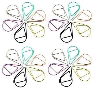 40pcs 33 * 20mm Large Paper Clip Bookmarks Metal Bookmarks Drop-shaped Bookmark School Students Office Stationery 6 Colors Clips