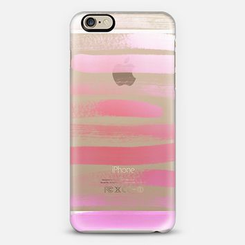 Pink Ombre | paint coral brush strokes artist iPhone 6 case by Jennifer | Casetify